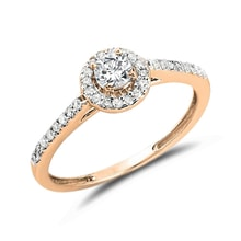ENGAGEMENT RING IN ROSE GOLD WITH DIAMONDS - DIAMOND ENGAGEMENT RINGS - ENGAGEMENT RINGS