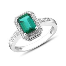 Emerald and diamond ring in sterling silver - Fine Jewellery