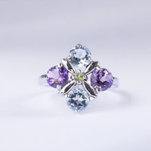 SILVER RING WITH PRECIOUS STONES - JEWELLERY SALE