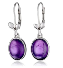 SILVER EARRINGS WITH AMETHYST - AMETHYST EARRINGS - EARRINGS