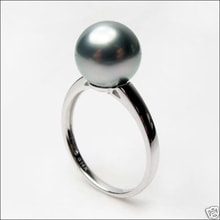 Tahitian pearl ring in white gold - Tahitian Pearls Jewellery