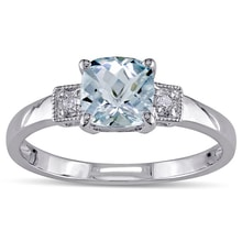 STERLING SILVER AQUAMARINE AND DIAMOND RING - AQUAMARINE RINGS - RINGS