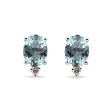 EARRINGS MADE OF WHITE GOLD WITH AQUAMARINES AND DIAM - WHITE GOLD EARRINGS - EARRINGS