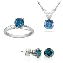 DIAMOND SET PENDANT, EARRINGS AND RING - RING SETS - RINGS