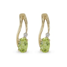 GOLD PERIDOT EARRINGS WITH DIAMONDS - GOLD EARRINGS - EARRINGS