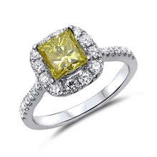 Diamond engagement ring in 18kt gold - Fancy Diamond Engagement Rings
