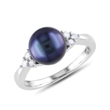 Sterling silver ring with black pearl and diamonds - Pearl rings