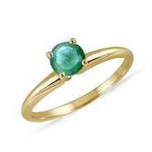 Emerald 14kt gold ring - Engagement Gemstone Rings