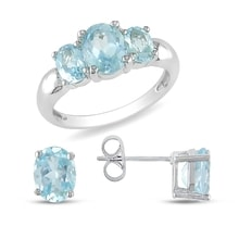 RING AND EARRINGS WITH BLUE TOPAZ - EARRING SETS - EARRINGS