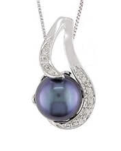 STERLING SILVER PENDANT WITH PEARL AND DIAMONDS - STERLING SILVER PENDANTS - PENDANTS