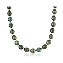 Tahitian pearls necklace with sterling silver beads - Tahitian pearls