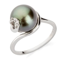 Gold ring with Tahitian pearl - White gold rings