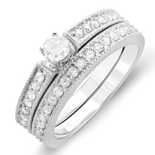 ENGAGEMENT AND WEDDING RINGS WITH DIAMONDS IN WHITE GOLD - JEWELLERY BY GEMSTONE
