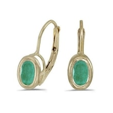 GOLD EARRINGS WITH EMERALDS - EMERALD EARRINGS - EARRINGS