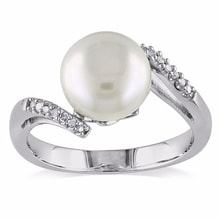 SILVER RING WITH A WHITE PEARL AND DIAMONDS - PEARL RINGS - PEARLS