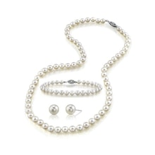 AKOYA PEARL SET, 14K GOLD CLASP - AKOYA CULTURED PEARLS - PEARLS