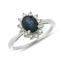 Sapphire ring with brilliants in white gold - White Gold Rings