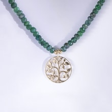 EMERALD NECKLACE WITH GOLD PENDNAT - EMERALD PENDANTS - PENDANTS