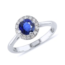 Sapphire and diamond ring in 14kt gold - Engagement Halo Rings