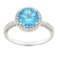 RING MADE OF WHITE GOLD WITH BLUE TOPAZ AND DIAMONDS - HALO ENGAGEMENT RINGS - ENGAGEMENT RINGS WITH GEMSTONES