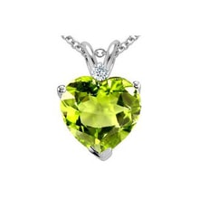 Peridot necklace with diamonds - White gold pendants