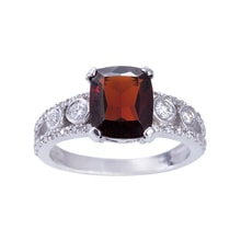 ENGAGEMENT GARNET RING IN WHITE GOLD - ENGAGEMENT RINGS WITH GEMSTONES