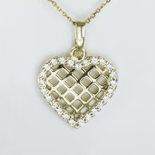GOLD HEART PENDANT WITH CZ - JEWELLERY SALE