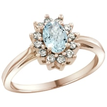 RING MADE OF PINK GOLD WITH AQUAMARINE AND DIAMONDS - HALO ENGAGEMENT RINGS - ENGAGEMENT RINGS WITH GEMSTONES