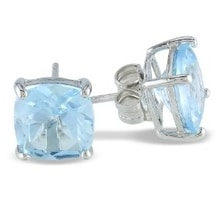 SILVER EARRINGS STUDS WITH BLUE TOPAZ - TOPAZ EARRINGS - EARRINGS