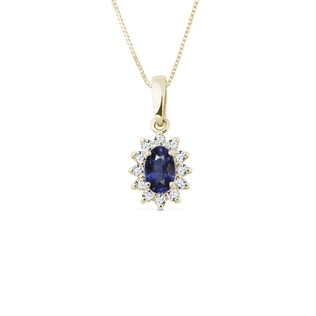 SAPPHIRE NECKLACE WITH DIAMONDS - GEMSTONE PENDANTS - PENDANTS