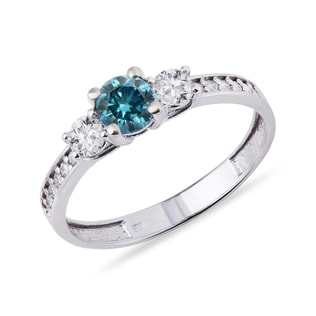 GOLD RING WITH BLUE AND WHITE DIAMONDS - DIAMOND RINGS - RINGS