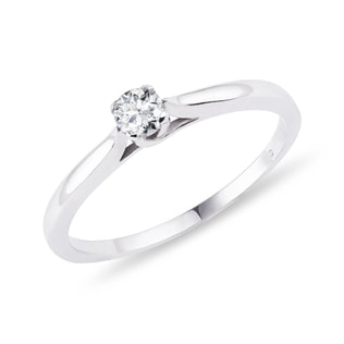DIAMOND RING IN STERLING SILVER - SOLITAIRE ENGAGEMENT RINGS - ENGAGEMENT RINGS