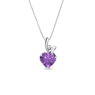 AMETHYST AND DIAMOND PENDANT IN STERLING SILVER - HEART PENDANTS - PENDANTS
