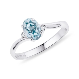 TOPAZ AND DIAMOND RING IN WHITE GOLD - TOPAZ RINGS - RINGS