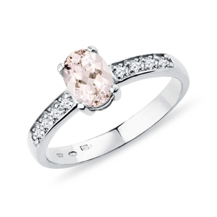 DIAMOND RING WITH MORGANITE - ENGAGEMENT GEMSTONE RINGS - ENGAGEMENT RINGS