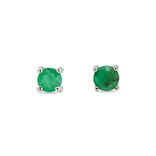 EMERALD EARRINGS IN WHITE GOLD - EMERALD EARRINGS - EARRINGS