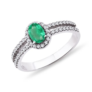 WHITE GOLD RING WITH EMERALD AND DIAMONDS - ENGAGEMENT HALO RINGS - ENGAGEMENT RINGS