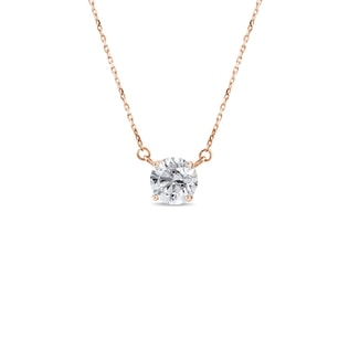 NECKLACE IN ROSE GOLD WITH A DIAMOND - DIAMOND PENDANTS - PENDANTS