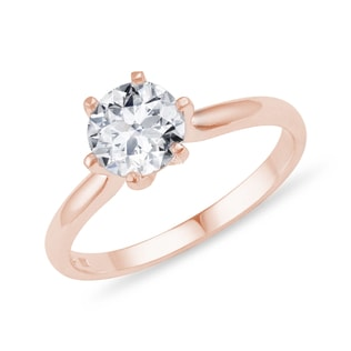 BRILLIANT-CUT DIAMOND ENGAGEMENT RING IN 14KT ROSE GOLD - SOLITAIRE ENGAGEMENT RINGS - ENGAGEMENT RINGS