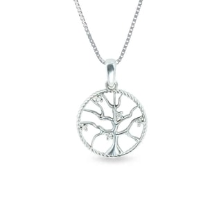 DIAMOND TREE PENDANT IN SILVER - DIAMOND PENDANTS - PENDANTS