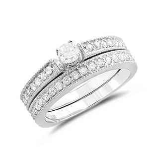 DIAMOND ENGAGEMENT AND WEDDING RING SET IN 14KT GOLD - ENGAGEMENT AND WEDDING MATCHING SETS - ENGAGEMENT RINGS