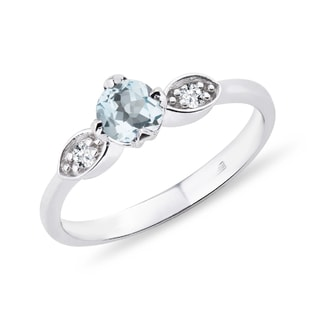 SILVER RING WITH AQUAMARINE AND DIAMONDS - AQUAMARINE RINGS - RINGS