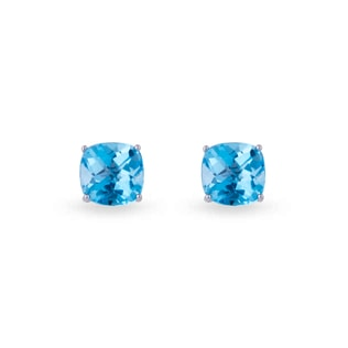 SILVER STUD EARRINGS ADORNED WITH TOPAZ - TOPAZ EARRINGS - EARRINGS