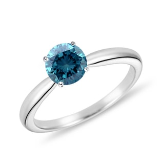 BLUE DIAMOND ENGAGEMENT RING IN 14KT GOLD - FANCY DIAMOND ENGAGEMENT RINGS - ENGAGEMENT RINGS