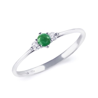 GOLD ENGAGEMENT RING WITH EMERALD - ENGAGEMENT GEMSTONE RINGS - ENGAGEMENT RINGS