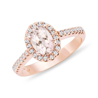 MORGANITE ENGAGEMENT RING IN 14KT ROSE GOLD - ENGAGEMENT HALO RINGS - ENGAGEMENT RINGS