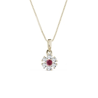 NECKLACE IN YELLOW GOLD WITH DIAMONDS AND A RUBY - GEMSTONE PENDANTS - PENDANTS