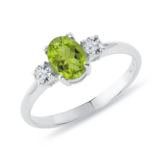 SILVER RING WITH OLIVINE AND DIAMONDS - ENGAGEMENT GEMSTONE RINGS - ENGAGEMENT RINGS