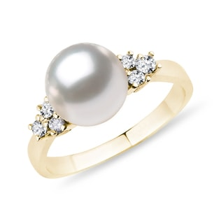 PEARL AND DIAMOND RING IN 14KT GOLD - PEARL RINGS - PEARL JEWELRY
