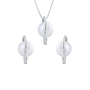PEARL AND DIAMOND SET IN STERLING SILVER - PEARL SETS - PEARL JEWELLERY